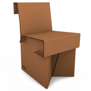 sedia di cartone avana